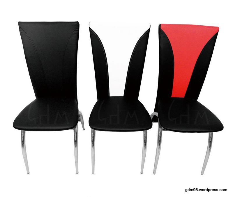 Chaise noire noire et blanche ou noire et rouge a49n - Chaise noire et blanche ...