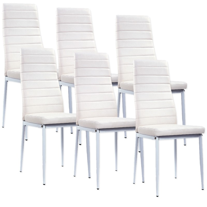 lot de 6 chaises blanches a73b electro discount. Black Bedroom Furniture Sets. Home Design Ideas