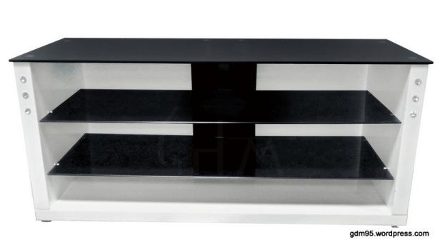 Meuble tv noir et blanc tv03b electro discount for Meuble noir et blanc