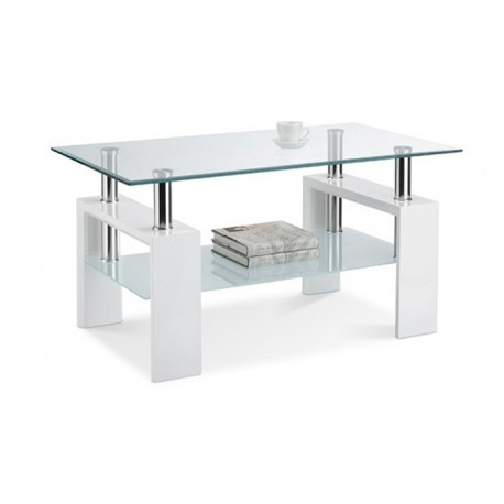 table basse blanche plateau verre tremp electro discount. Black Bedroom Furniture Sets. Home Design Ideas