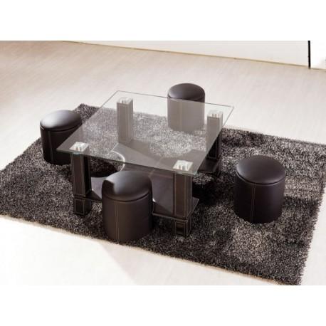 Table basse et 4 poufs electro discount - Table basse discount ...