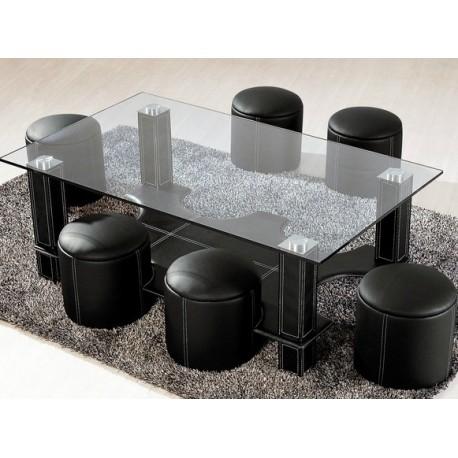 Table basse et 6 poufs electro discount - Table basse discount ...
