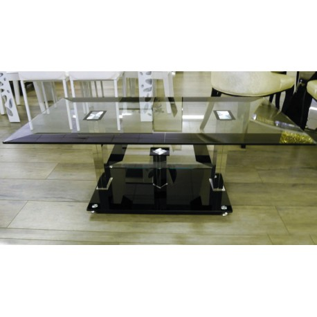 table basse noire et verre tremp electro discount. Black Bedroom Furniture Sets. Home Design Ideas