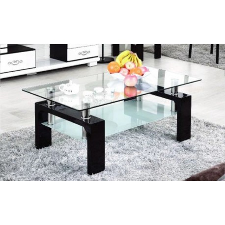 table basse noire plateau verre tremp electro discount. Black Bedroom Furniture Sets. Home Design Ideas