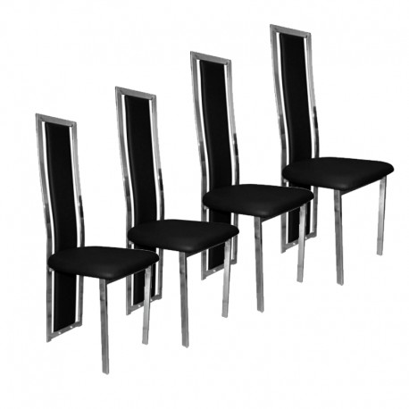 lot de 4 chaises noires chrome a120n electro discount. Black Bedroom Furniture Sets. Home Design Ideas