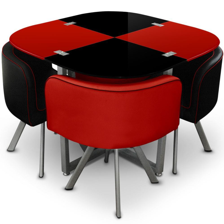 Table et 4 chaises rouges/noires