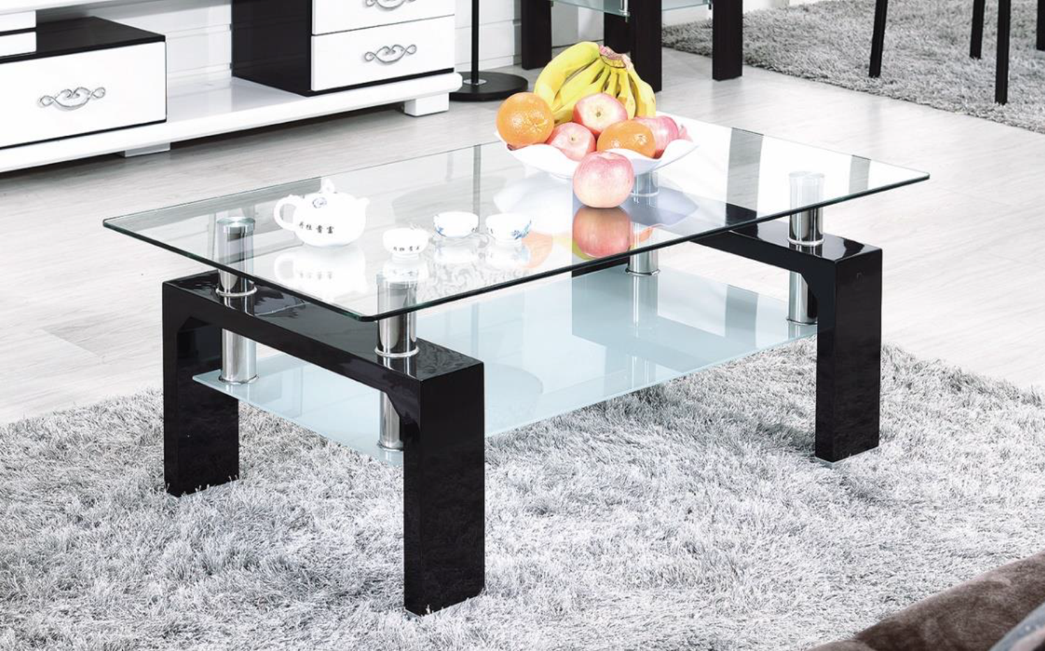 Table basse verre laqu blanc ct37b n electro discount - Table basse discount ...