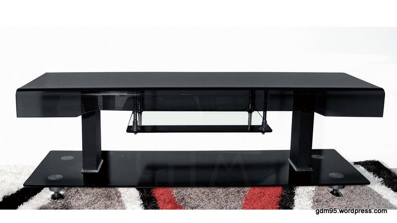 meuble tv verre trempe noir tvl7 electro discount